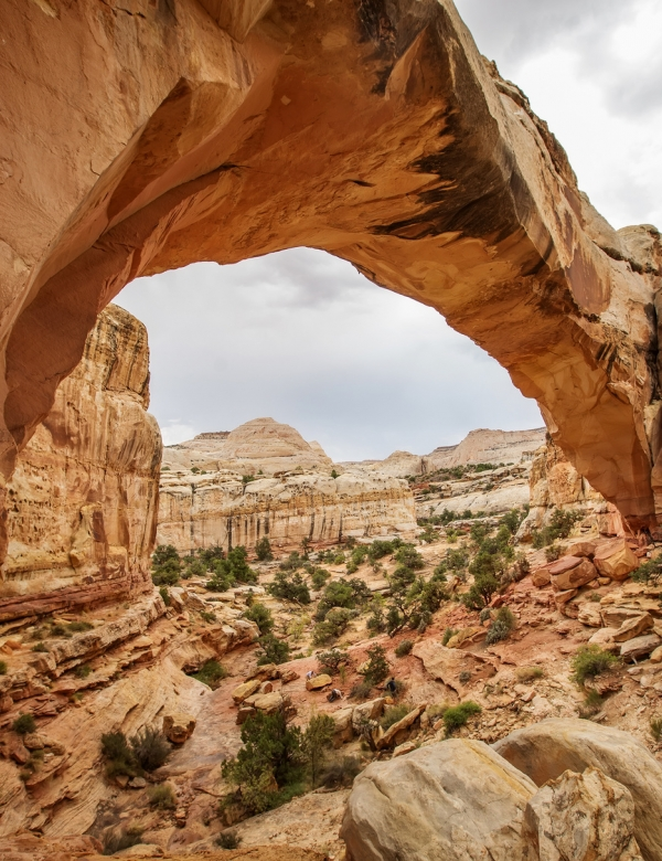 Spectacular view to Hickman Natural Bridge in Capitol reef National park in Utah, USA